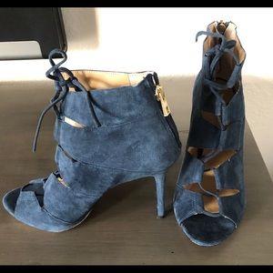Ann Taylor blue suede caged sandal